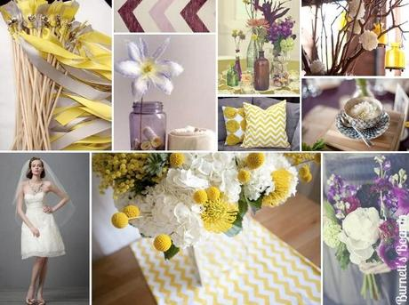 wedding inspiration board purple, grey, yellow