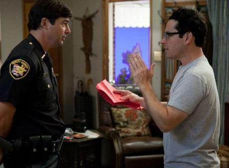 J.J. Abrams and Kyle Chandler on the set of Super 8. (Photo credit: Francois Duhamel/ Paramount Pictures)