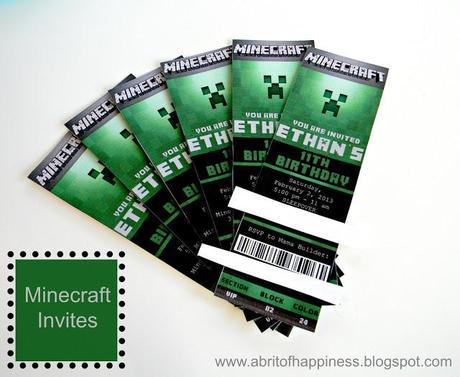 Minecraft Party Invitations Printable Free