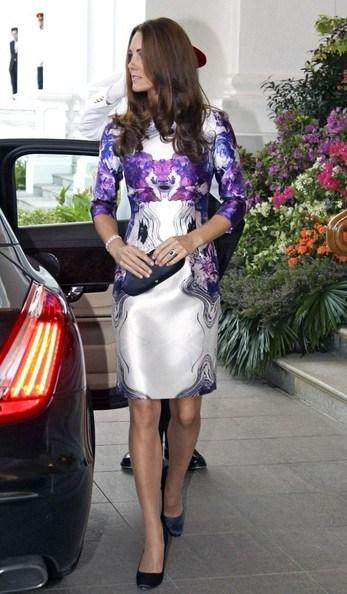 Kate+Middleton+Purple and White Dress