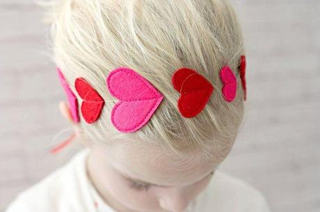 Valentines Headband with Red and Pink Hearts