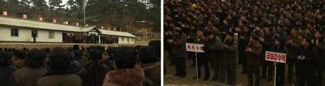 A ceremony opening Phase Two of the construction of Hu'ich'o'n Power Station in Hyangsan County, North P'yo'ngan Province on 30 January 2013 (Photos: KCTV screengrabs)