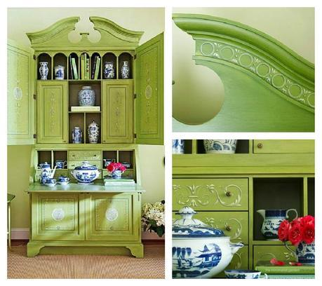 secretary in pale lime green