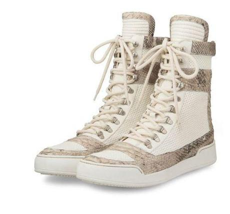 Balmain White Python Leather High-Top Lace-Up Sneaker ($1,965)