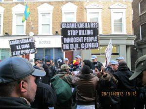 Congolese protesters on November 28th, 2012 in front of the Rwandan High Commission in London - UK.