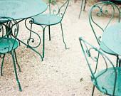 Green Chairs - Fine Art Photography print - mint aqua green metal chairs - pale beige cream wall art - spirals shabby chic - 8x10 photograph - LupenGrainne