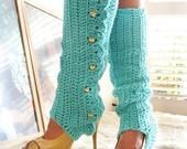 Leg Warmers with Stirrups - Aqua - Lots of Colors - mademoisellemermaid