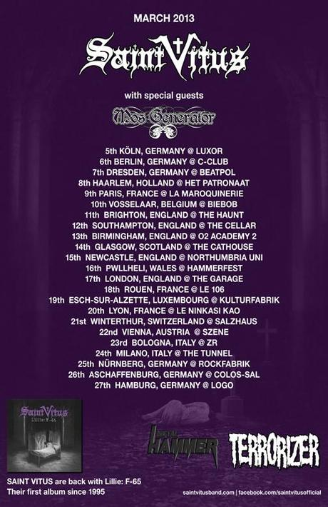 Mos Generator to support Saint Vitus on European Tour;  Interview Opportunities Available