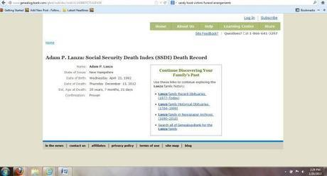 SSDI changed Adam Lanza's date-of-death from Dec. 13 to Dec. 14, 2012 !!!