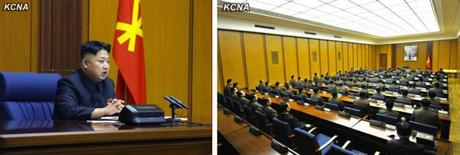 Kim Jong Un (L) delivers a speech at an enlarged meeting of the Party Central Military Commission (Photos: KCNA)