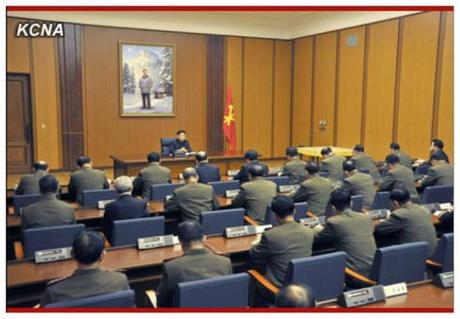 Kim Jong Un addresses an enlarged meeting of the Korean Workers' Party Central Military Commission (Photo: KCNA)