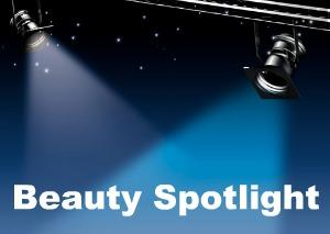 beauty spotlight with words