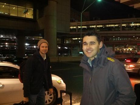 Andrew and Nick in the cold outside Toronto airport