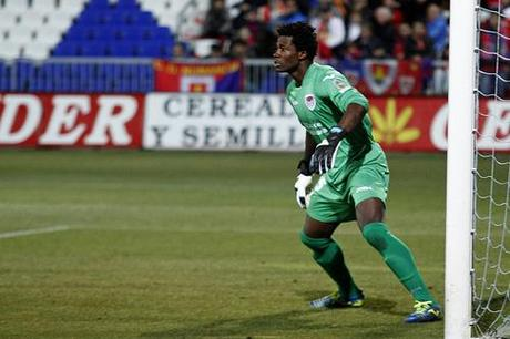 Razak Brimah, the Ghanian keeper breached by Girona after 442 minutes. Courtesy of oscar de marcos