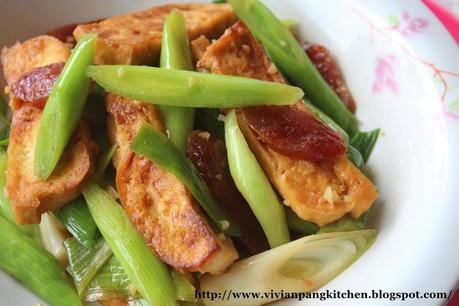 Stir Fry Leek with Chinese Sausage