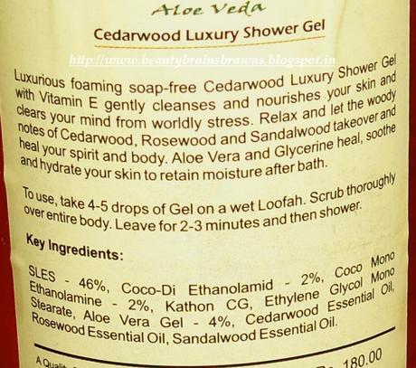 Aloe Veda Luxury Shower Gel in Cedarwood Review