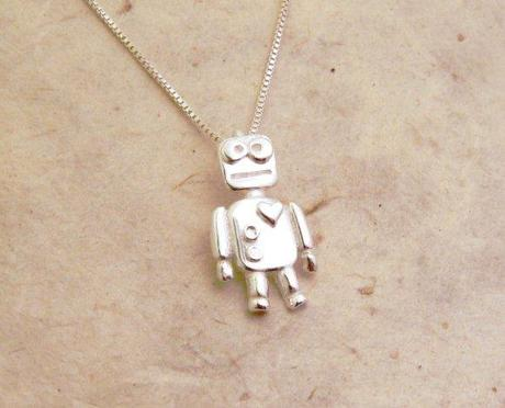 Silver Robot Love Necklace by Blue Dot Jewelry (Valentine's Day is nigh...click to buy!)