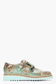 Punched Up Python:  Mugler Mint Python Buckled Monk Shoes
