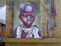 Acrylic portrait step by step African child