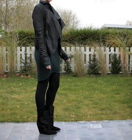 The Helmut Lang dress, the Muubaa leather jacket and the Lazio boots