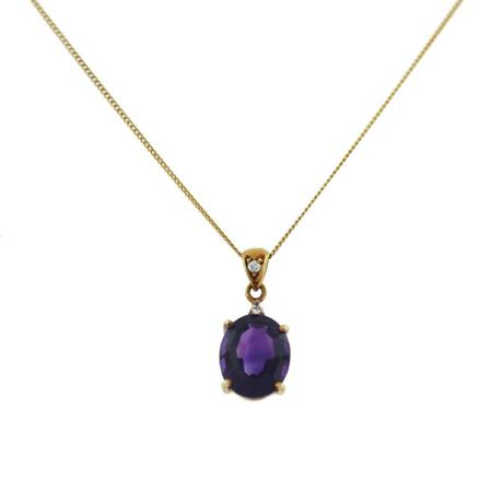 18k Yellow Gold Amethyst Diamond Pendant Chain Necklace, amethyst necklace