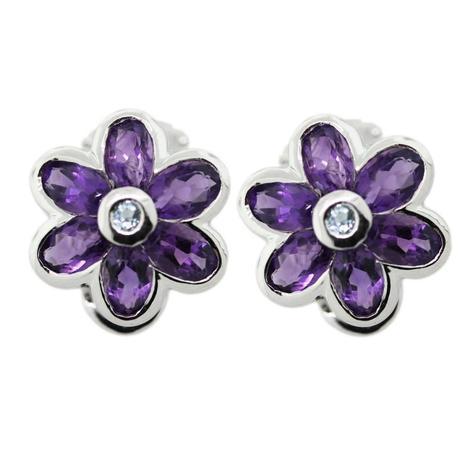 14k White Gold Amethyst Aquamarine Button Clip Earrings, amethyst earrings