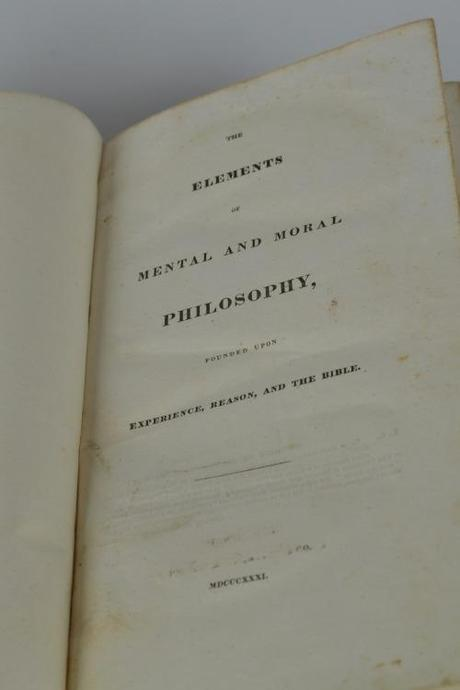 The title page of Beecher's Elements (1831). Notice the scratched out text above the Roman numerals.