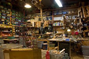 The timeworn workshop at the Eli Whitney Museum.