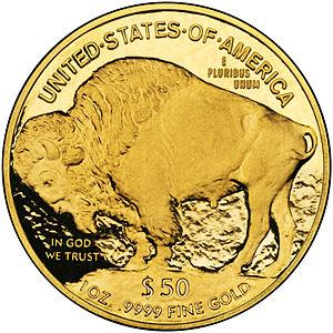 Reverse of the American Buffalo gold coins, st...