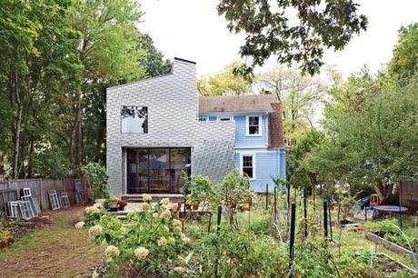 Modern aluminum shingle-clad home