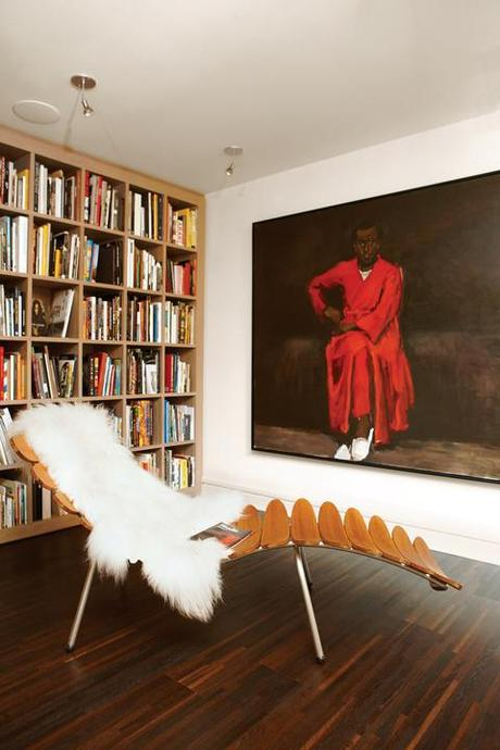 Modern library with Palms lounger and Lynette Yiadom-Boakye painting