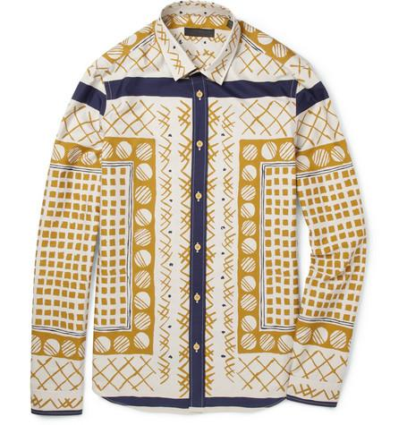 Burberry Prorsum Slim-Fit Printed Cotton Shirt ($595)