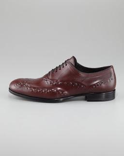 Welcomed Shoe Maladies:  Alexander McQueen Reverse-Embossed Lace-up in Oxblood
