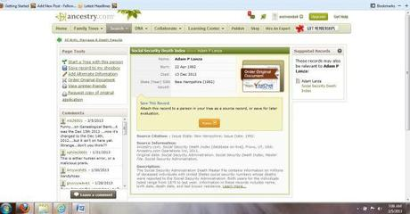 Adam Lanza SSDI ancestry.com