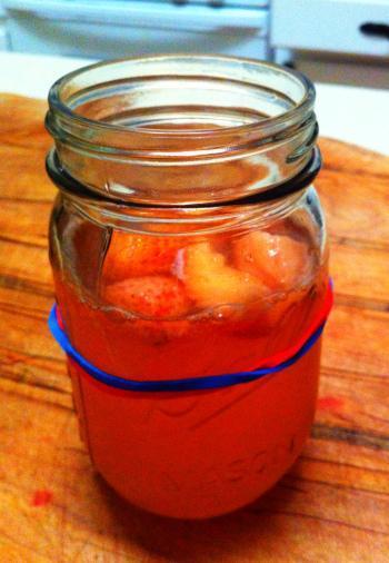 home-brewed strawberry kombucha