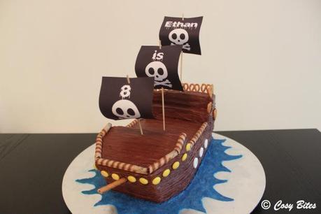 Remarkable Pirate Ship Cake With Hersheys Chocolate Cake Recipe Paperblog Personalised Birthday Cards Bromeletsinfo