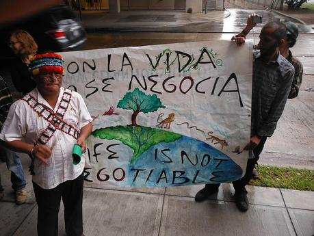 Amazon Indigenous Man and Banner