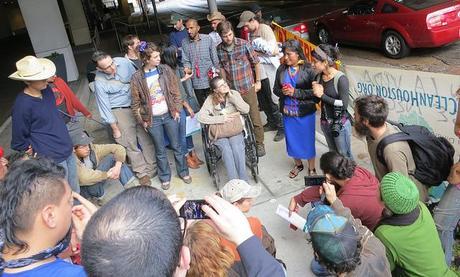 woman addressing crowd resize