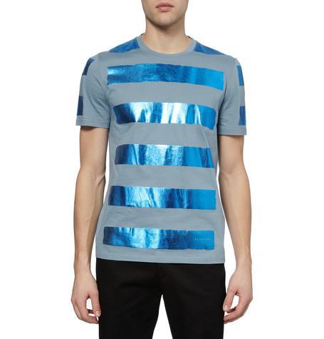 Burberry Prorsum Metallic-Stripe Cotton-Jersey T-Shirt ($350)