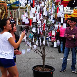 Celebrating the Lunar New Year, visitors make a votive offering by writing down a wish on a card and tying it onto the Wishing Tree - Photo by Jim E. Winburn