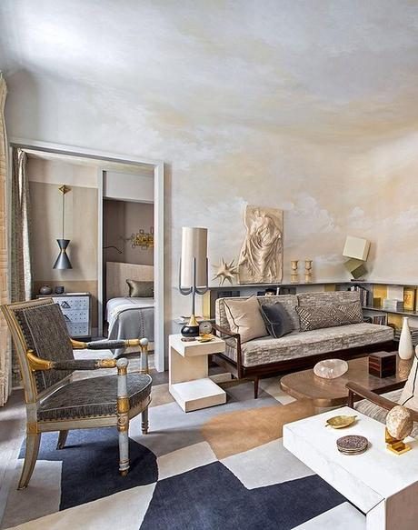 A Glamorous Parisian Apartment Using Ochres and Grey Color Palette