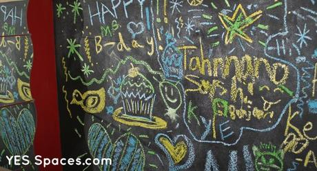 YES Spaces Birthday Chalk Wall Glow in the Dark Chalk Lights up a Sleepover