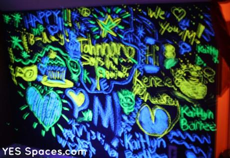 YES Spaces Chalk wall black light Glow in the Dark Chalk Lights up a Sleepover