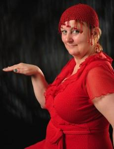 Charmian practices her Dance of the Seven Cardigans (photograph by Kerstin Diegel)