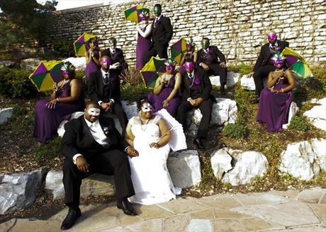 wedding party in Mardi Gras costumes