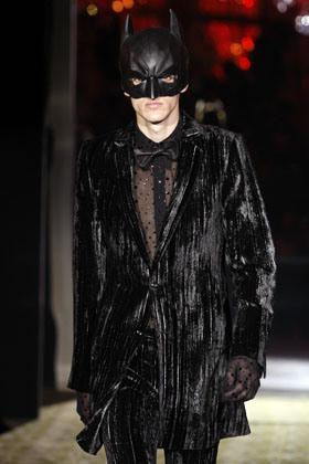A model displays a creation by Japanese designer Rynshu Hashimoto for Masatomo as part of his Fall/Winter 2009/10 men's collections during Paris Fashion Week