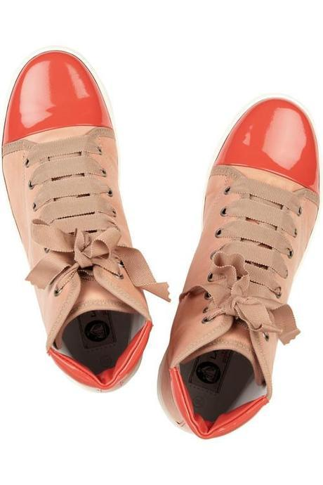 Lanvin Patent-trimmed leather sneakers ($680)