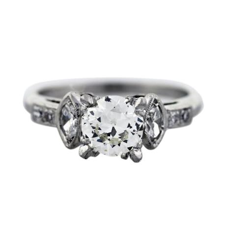 .88ct European Cut Diamond Antique Platinum Engagement Ring