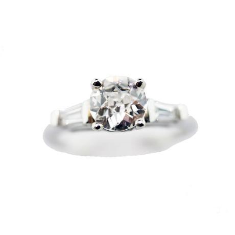 Platinum Diamond old european cut ring, antique engagement ring, old mine cut