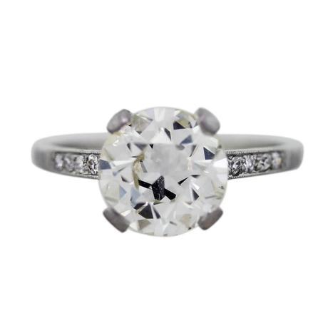 Platinum and European Cut Diamond Engagement Ring, antique engagement ring boca